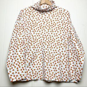 Vintage JL Plum Candy Corn Halloween Turtleneck